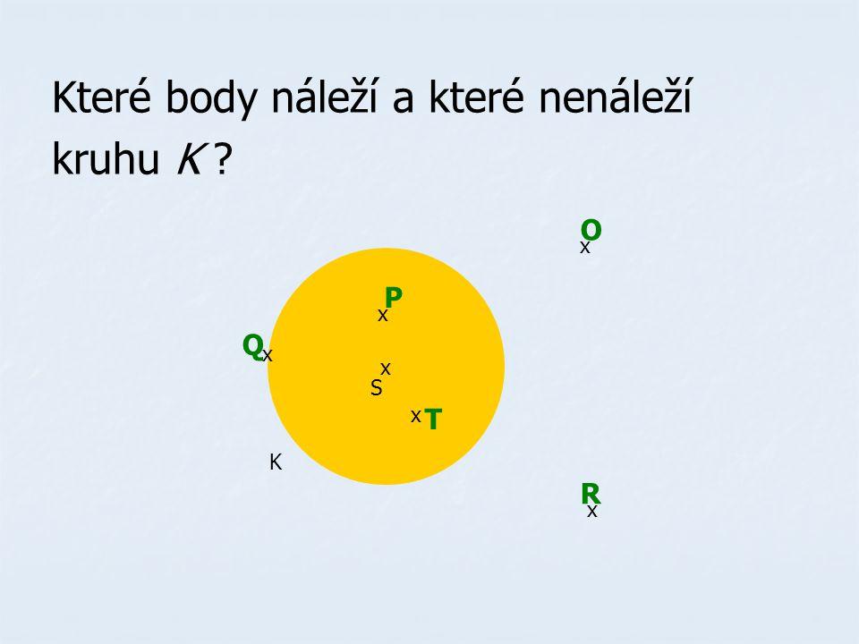 Které body náleží a které nenáleží kruhu K