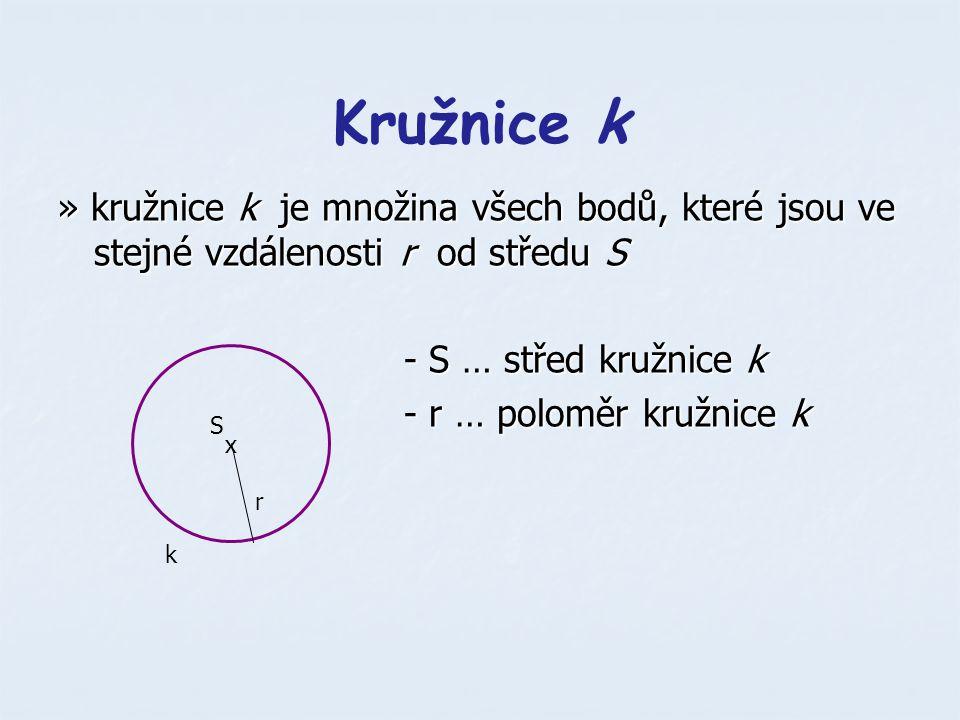 Kružnice k » kružnice k je množina všech bodů, které jsou ve stejné vzdálenosti r od středu S. - S … střed kružnice k.