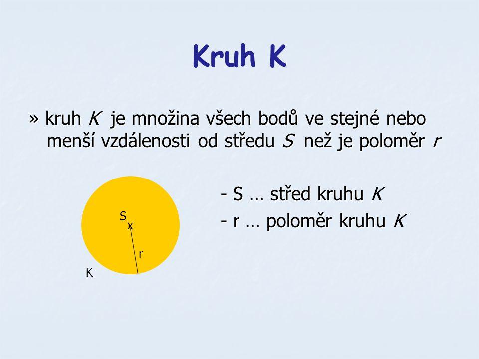 Kruh K » kruh K je množina všech bodů ve stejné nebo menší vzdálenosti od středu S než je poloměr r.