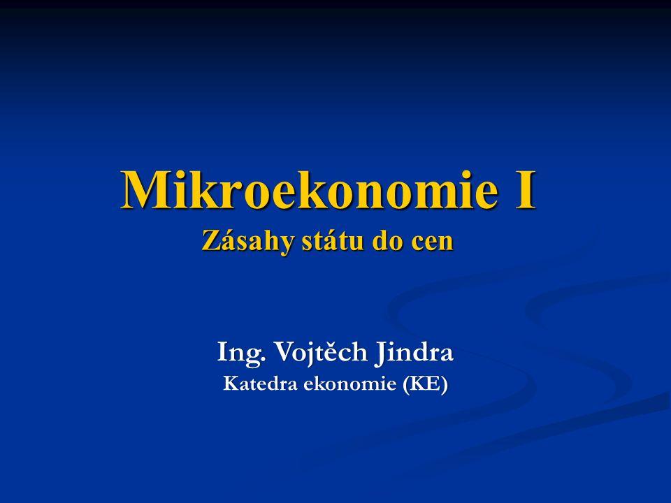 Mikroekonomie I Zásahy státu do cen