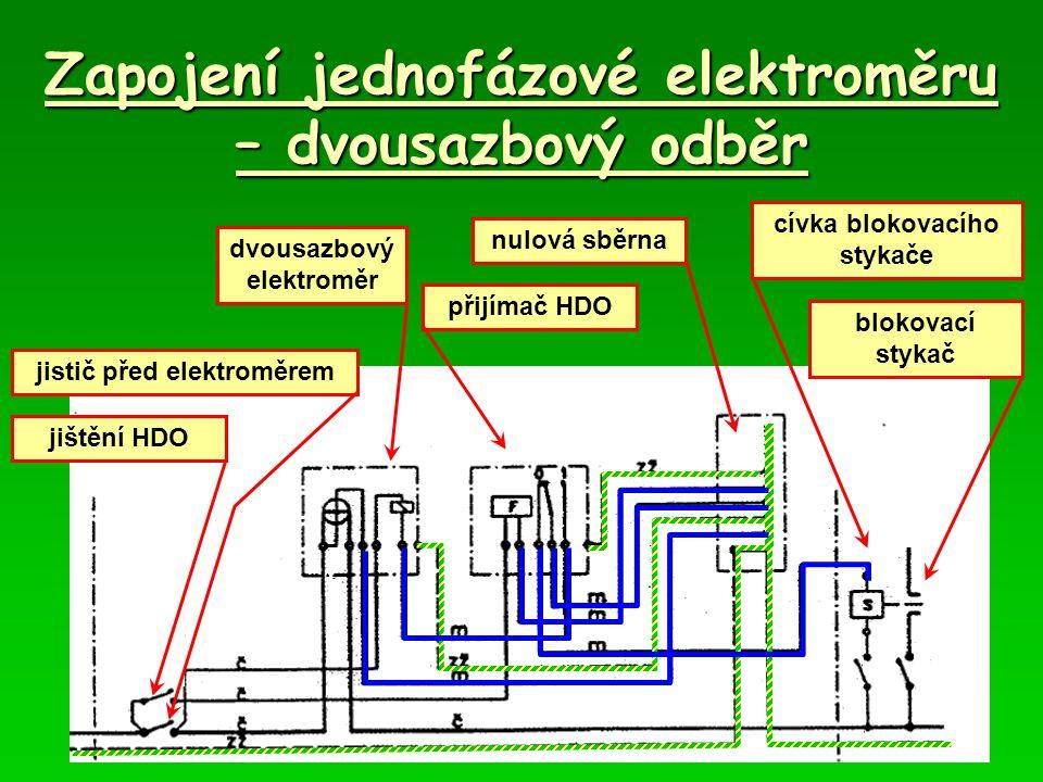 Zapojení jednofázové elektroměru – dvousazbový odběr