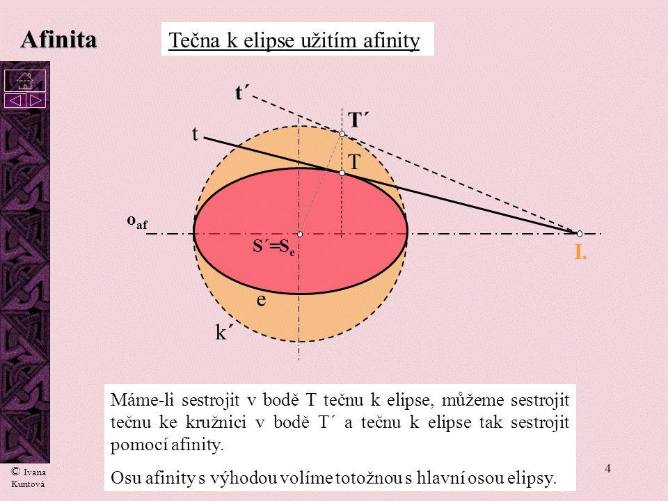 Afinita Tečna k elipse užitím afinity t´ T´ t T I. e k´ oaf S´= Se