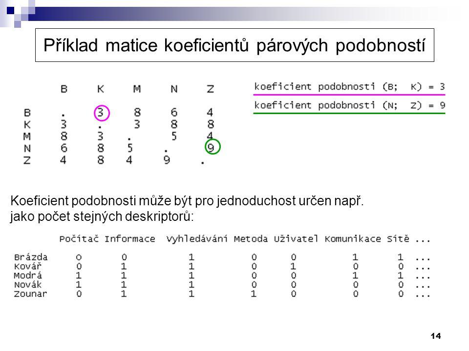 Příklad matice koeficientů párových podobností