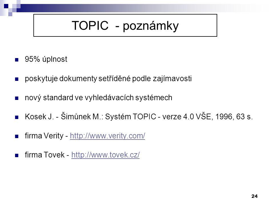 TOPIC - poznámky 95% úplnost