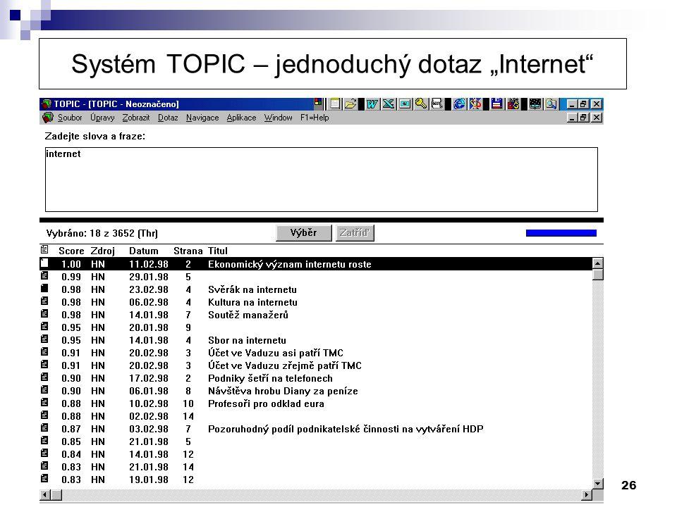 "Systém TOPIC – jednoduchý dotaz ""Internet"