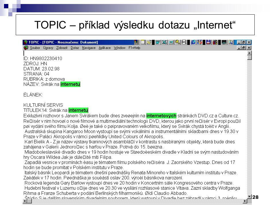 """TOPIC – příklad výsledku dotazu """"Internet"""