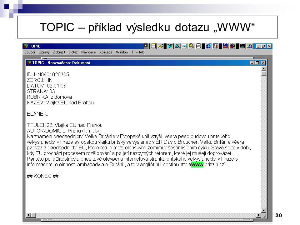 """TOPIC – příklad výsledku dotazu """"WWW"""