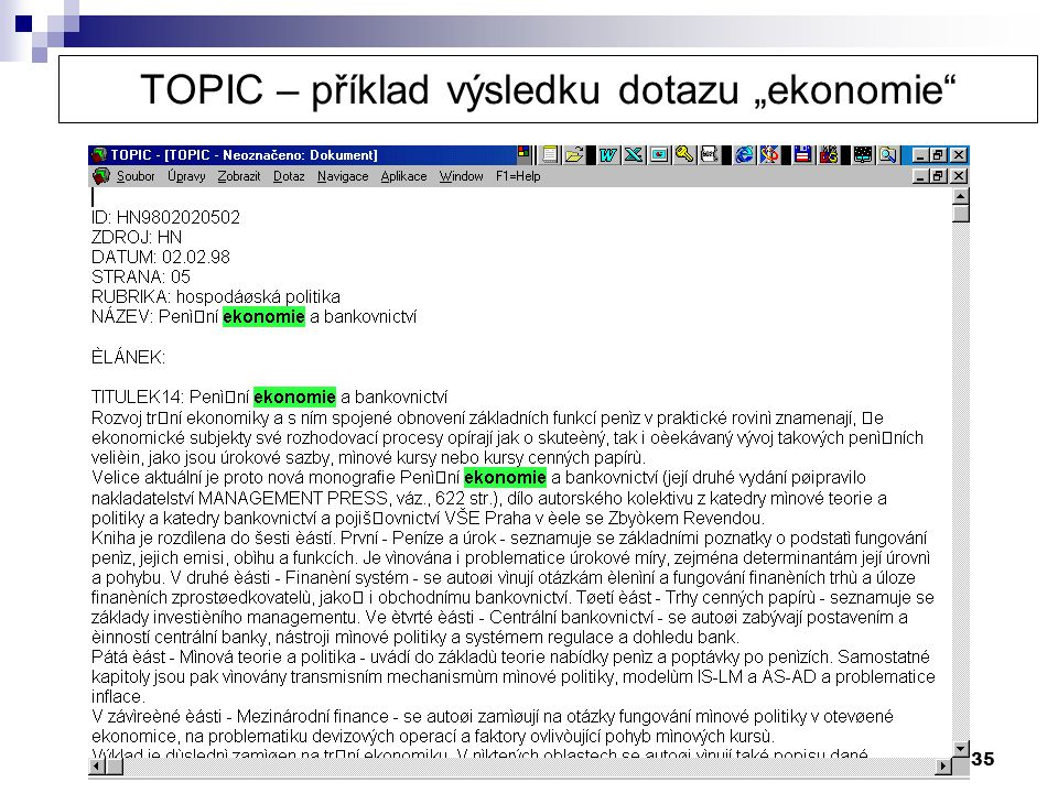 """TOPIC – příklad výsledku dotazu """"ekonomie"""