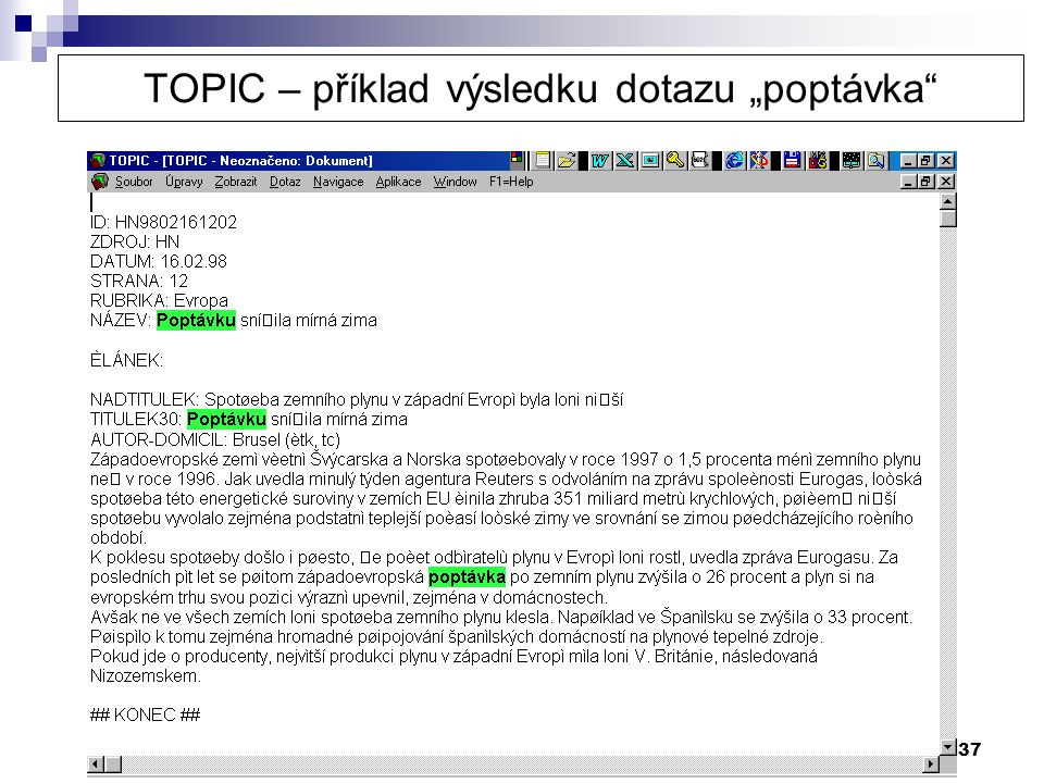 """TOPIC – příklad výsledku dotazu """"poptávka"""