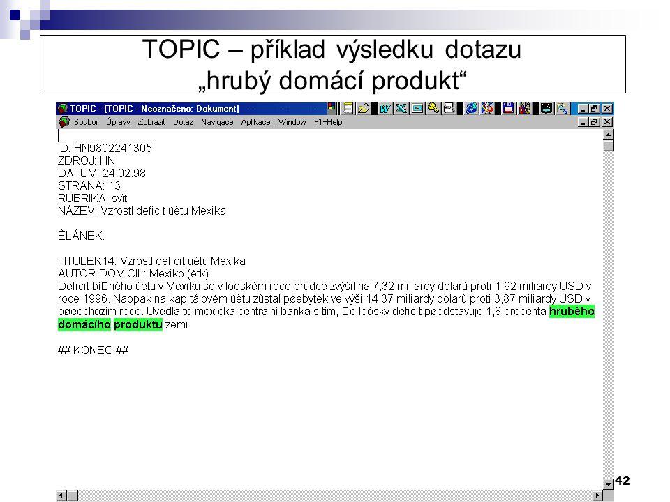 """TOPIC – příklad výsledku dotazu """"hrubý domácí produkt"""