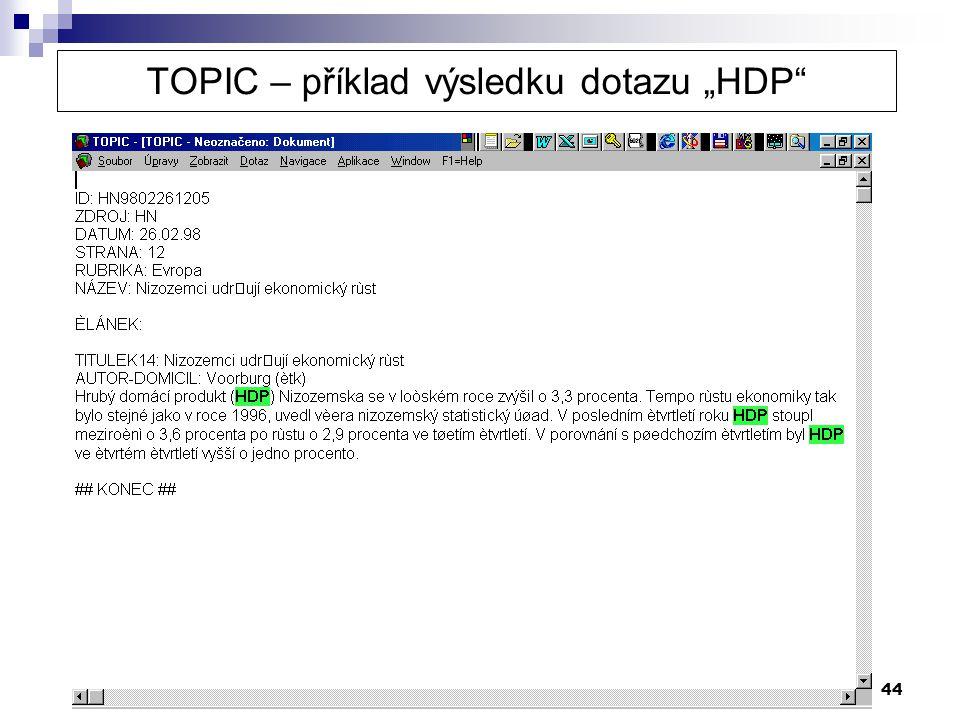 """TOPIC – příklad výsledku dotazu """"HDP"""
