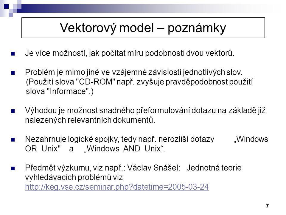 Vektorový model – poznámky