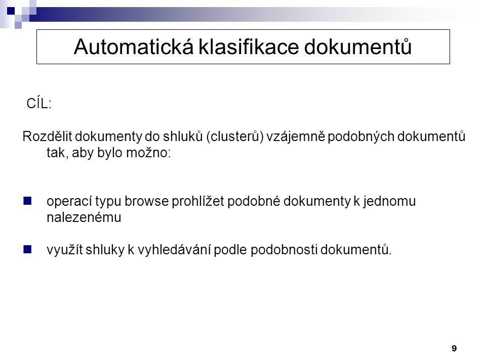 Automatická klasifikace dokumentů