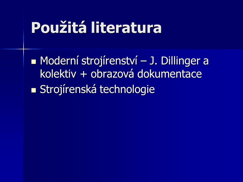 Použitá literatura Moderní strojírenství – J. Dillinger a kolektiv + obrazová dokumentace.