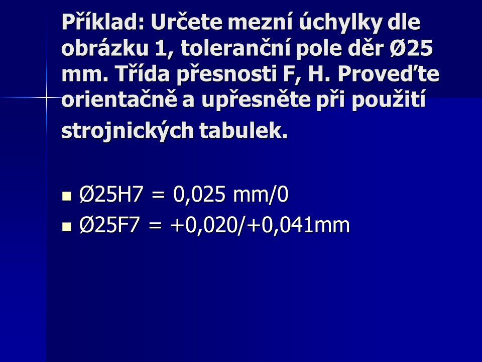 Příklad: Určete mezní úchylky dle obrázku 1, toleranční pole děr Ø25 mm. Třída přesnosti F, H. Proveďte orientačně a upřesněte při použití strojnických tabulek.