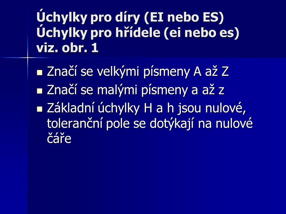Úchylky pro díry (EI nebo ES) Úchylky pro hřídele (ei nebo es) viz. obr. 1