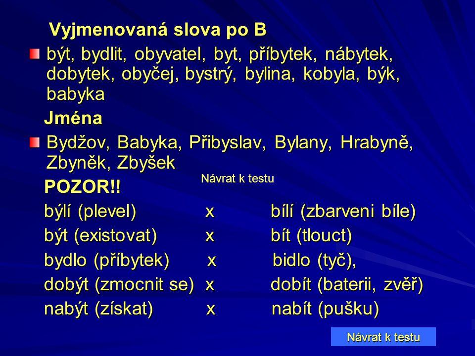 Bydžov, Babyka, Přibyslav, Bylany, Hrabyně, Zbyněk, Zbyšek POZOR!!