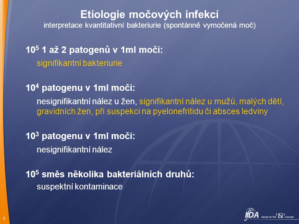 Etiologie močových infekcí interpretace kvantitativní bakteriurie (spontánně vymočená moč)