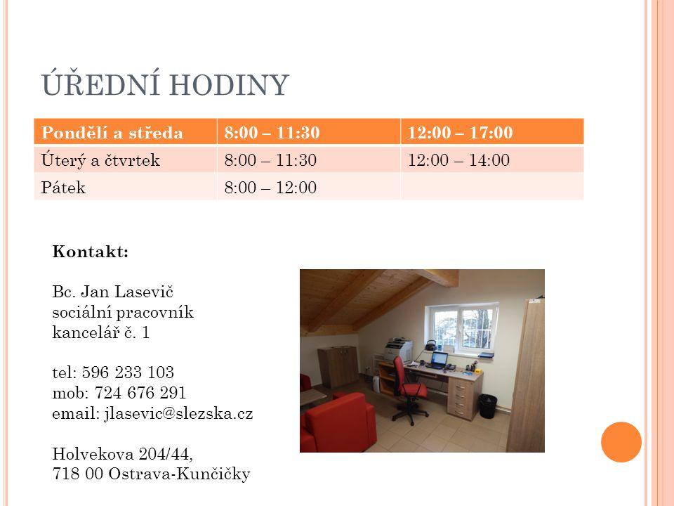 ÚŘEDNÍ HODINY Pondělí a středa 8:00 – 11:30 12:00 – 17:00