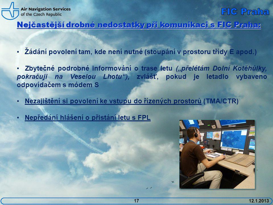FIC Praha Nejčastější drobné nedostatky při komunikaci s FIC Praha: