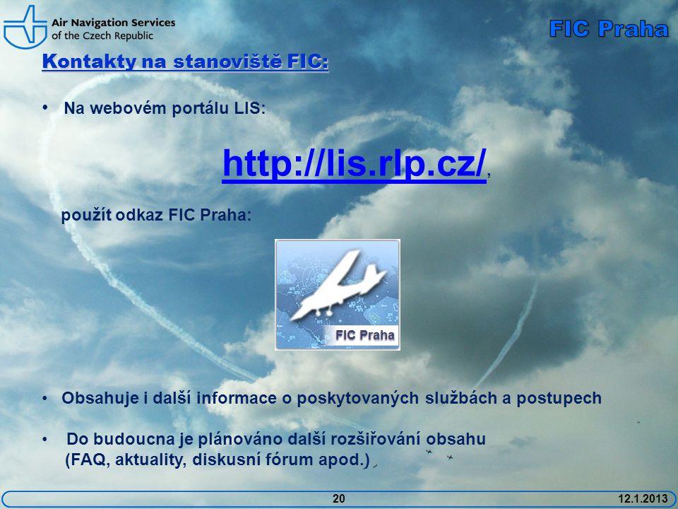 http://lis.rlp.cz/, FIC Praha Kontakty na stanoviště FIC: