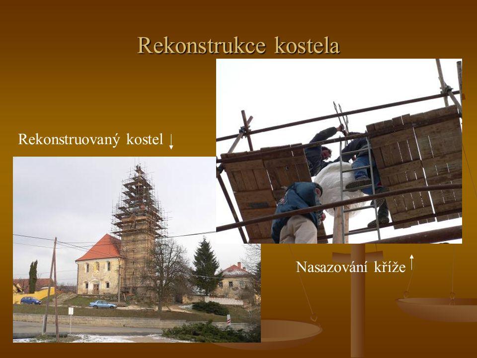 Rekonstrukce kostela Rekonstruovaný kostel Nasazování kříže