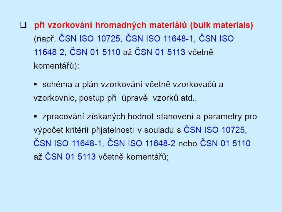 při vzorkování hromadných materiálů (bulk materials)