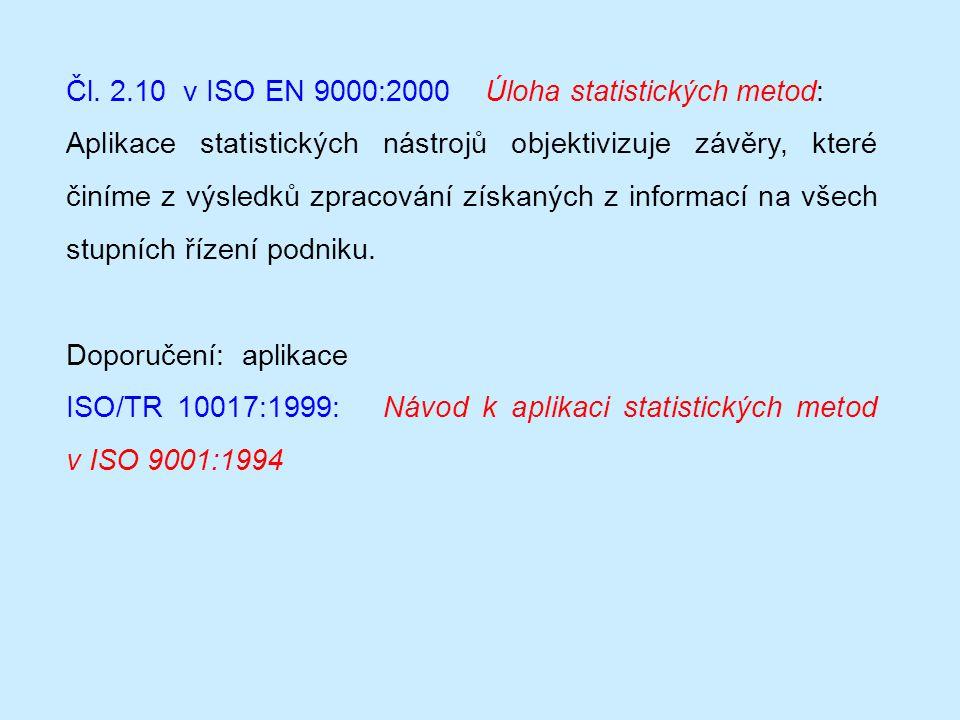 Čl. 2.10 v ISO EN 9000:2000 Úloha statistických metod: