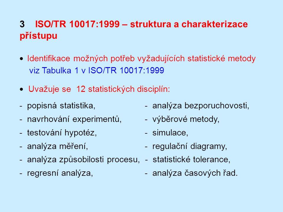 3 ISO/TR 10017:1999 – struktura a charakterizace přístupu