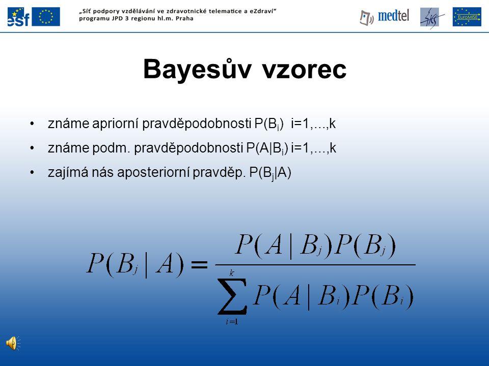 Bayesův vzorec známe apriorní pravděpodobnosti P(Bi) i=1,...,k