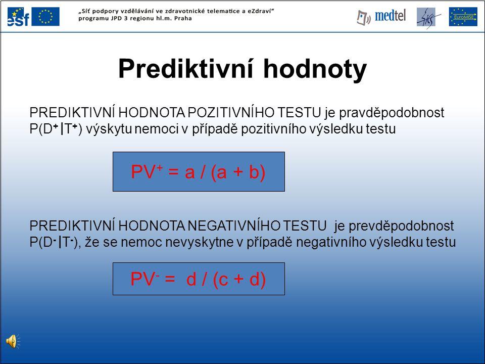 Prediktivní hodnoty PV+ = a / (a + b) PV- = d / (c + d)