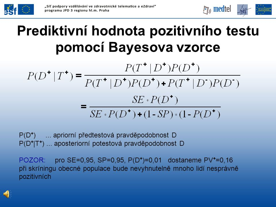 Prediktivní hodnota pozitivního testu pomocí Bayesova vzorce