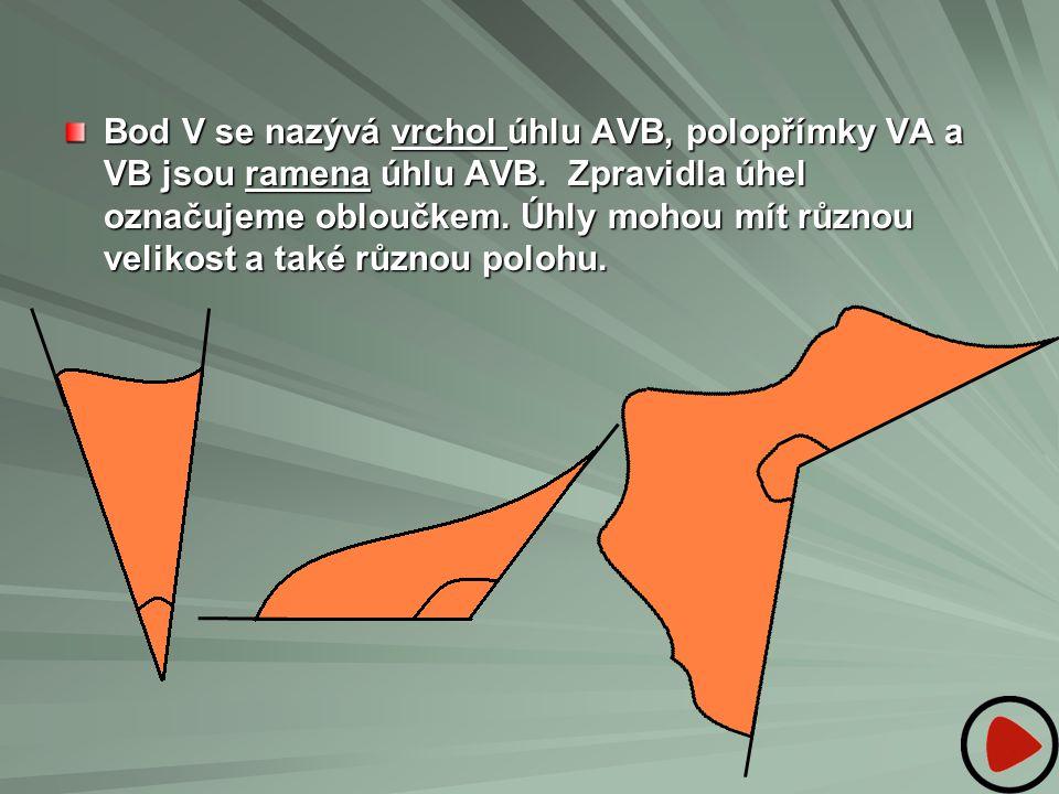 Bod V se nazývá vrchol úhlu AVB, polopřímky VA a VB jsou ramena úhlu AVB.