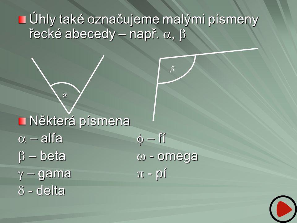 Úhly také označujeme malými písmeny řecké abecedy – např. a, b