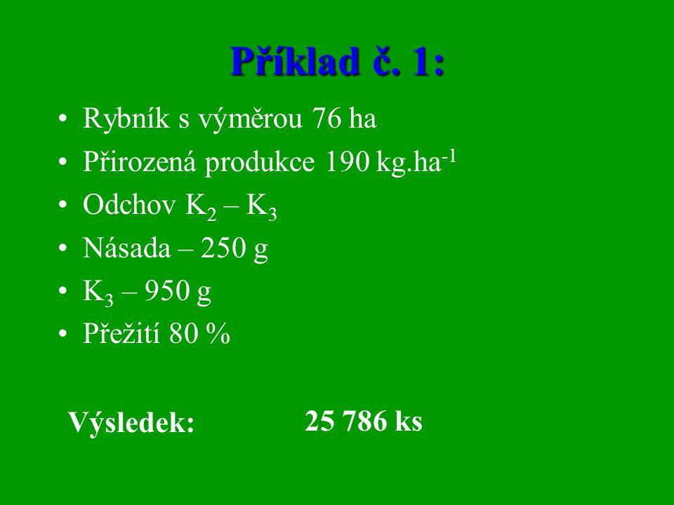 Příklad č. 1: Rybník s výměrou 76 ha Přirozená produkce 190 kg.ha-1