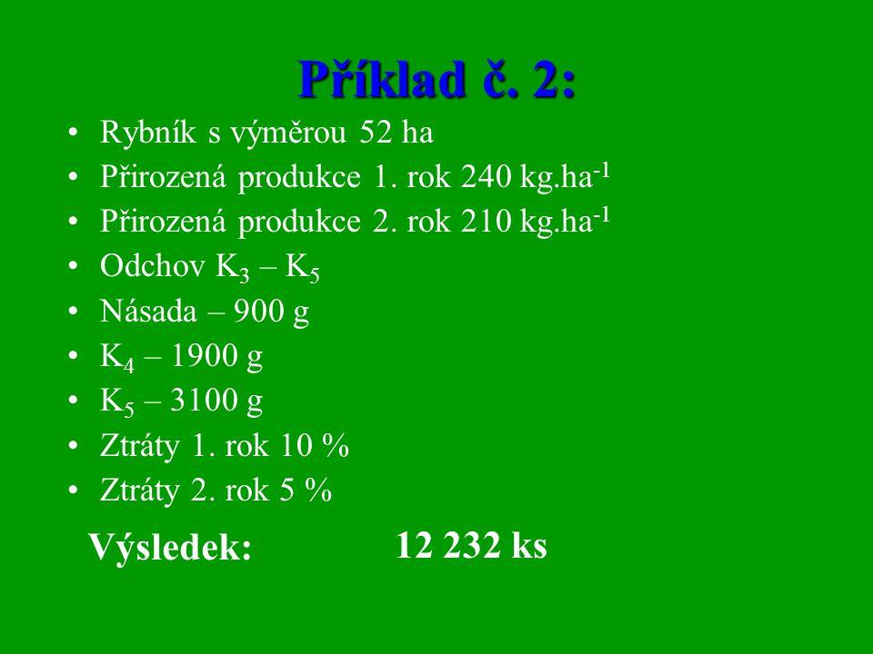 Příklad č. 2: Výsledek: 12 232 ks Rybník s výměrou 52 ha