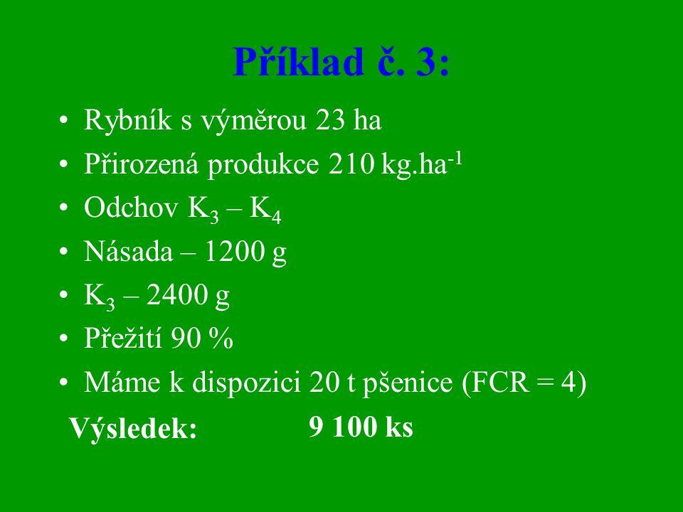 Příklad č. 3: Rybník s výměrou 23 ha Přirozená produkce 210 kg.ha-1