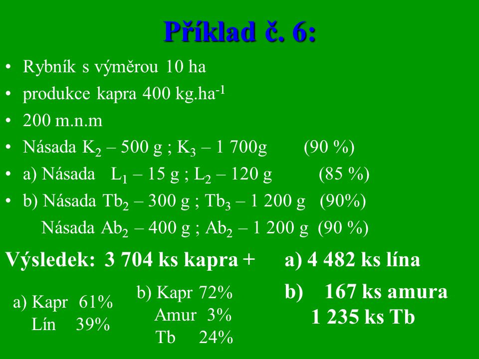 Příklad č. 6: Výsledek: 3 704 ks kapra + a) 4 482 ks lína