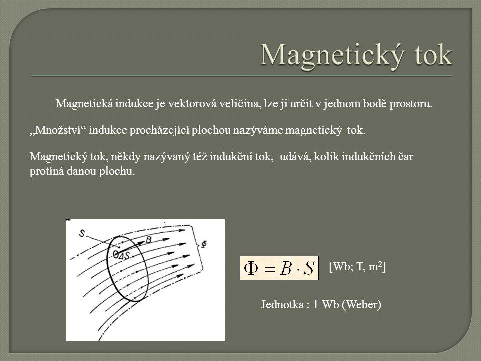 Magnetický tok Magnetická indukce je vektorová veličina, lze ji určit v jednom bodě prostoru.
