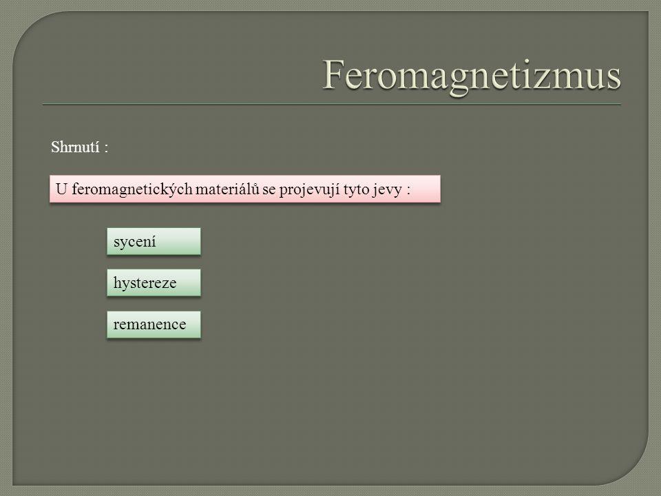 Feromagnetizmus Shrnutí :