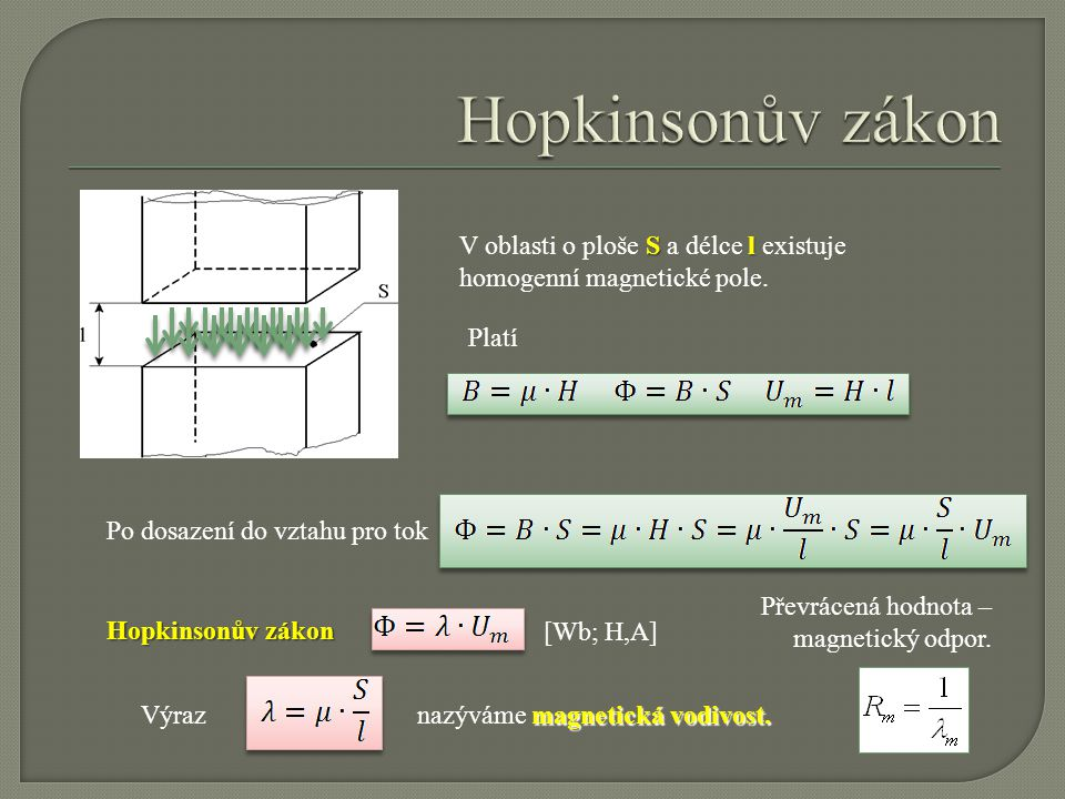 Hopkinsonův zákon V oblasti o ploše S a délce l existuje homogenní magnetické pole. Platí. Po dosazení do vztahu pro tok.