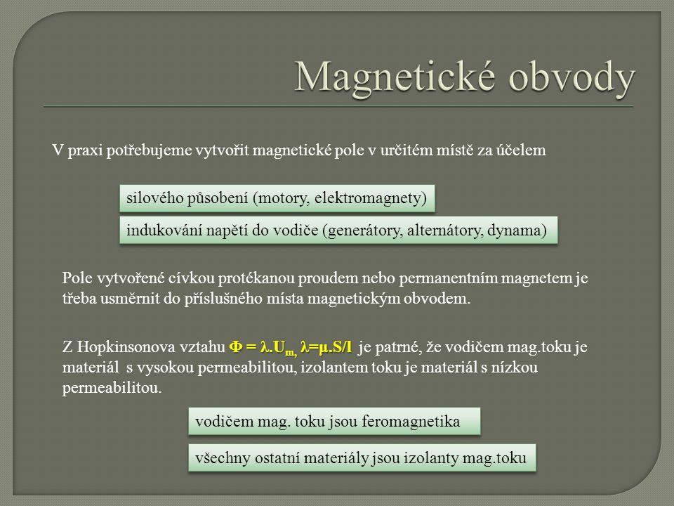Magnetické obvody V praxi potřebujeme vytvořit magnetické pole v určitém místě za účelem. silového působení (motory, elektromagnety)