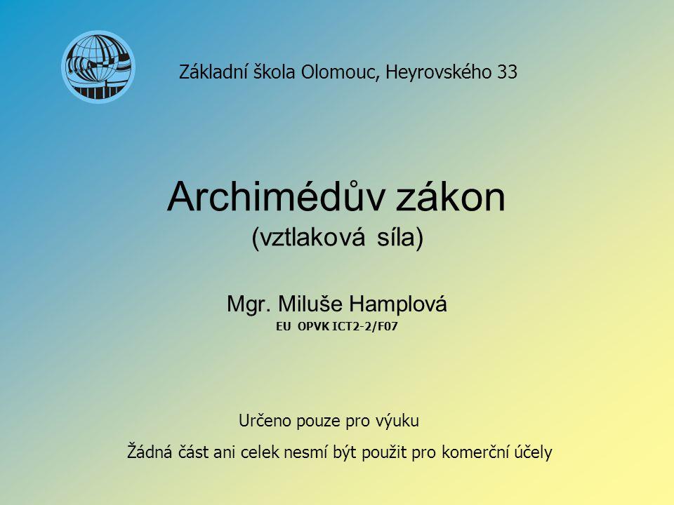 Archimédův zákon (vztlaková síla)