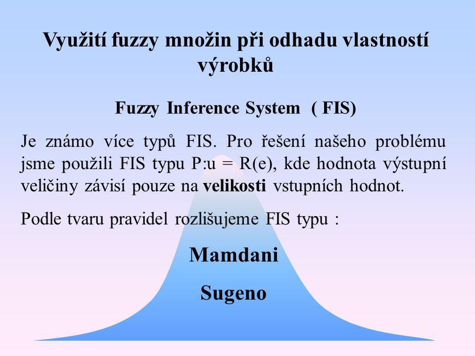 Využití fuzzy množin při odhadu vlastností výrobků Mamdani Sugeno