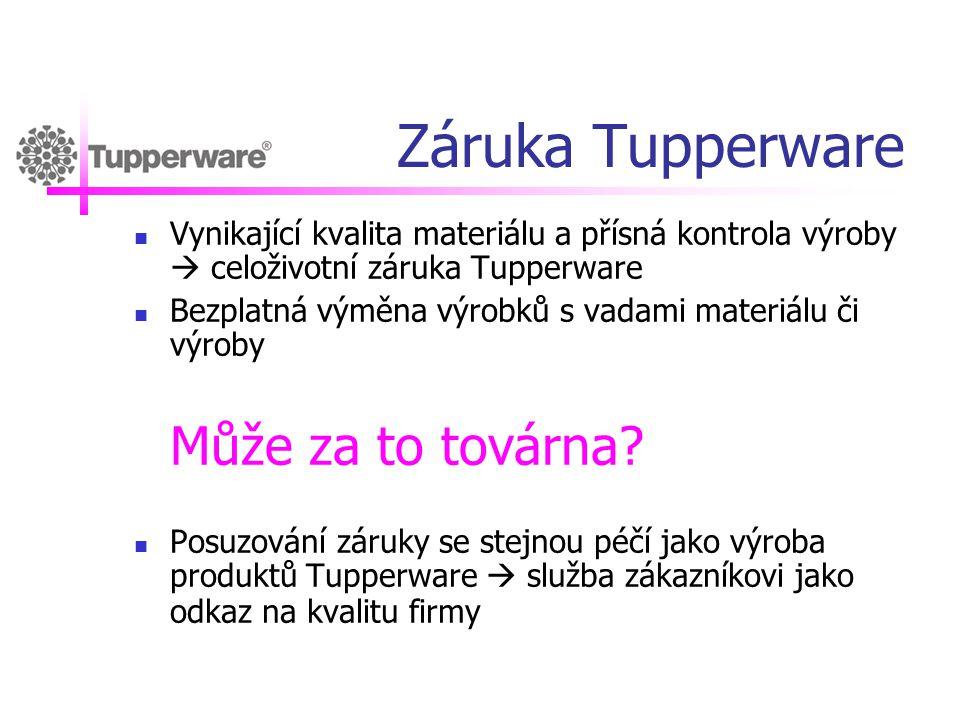 Záruka Tupperware Vynikající kvalita materiálu a přísná kontrola výroby  celoživotní záruka Tupperware.