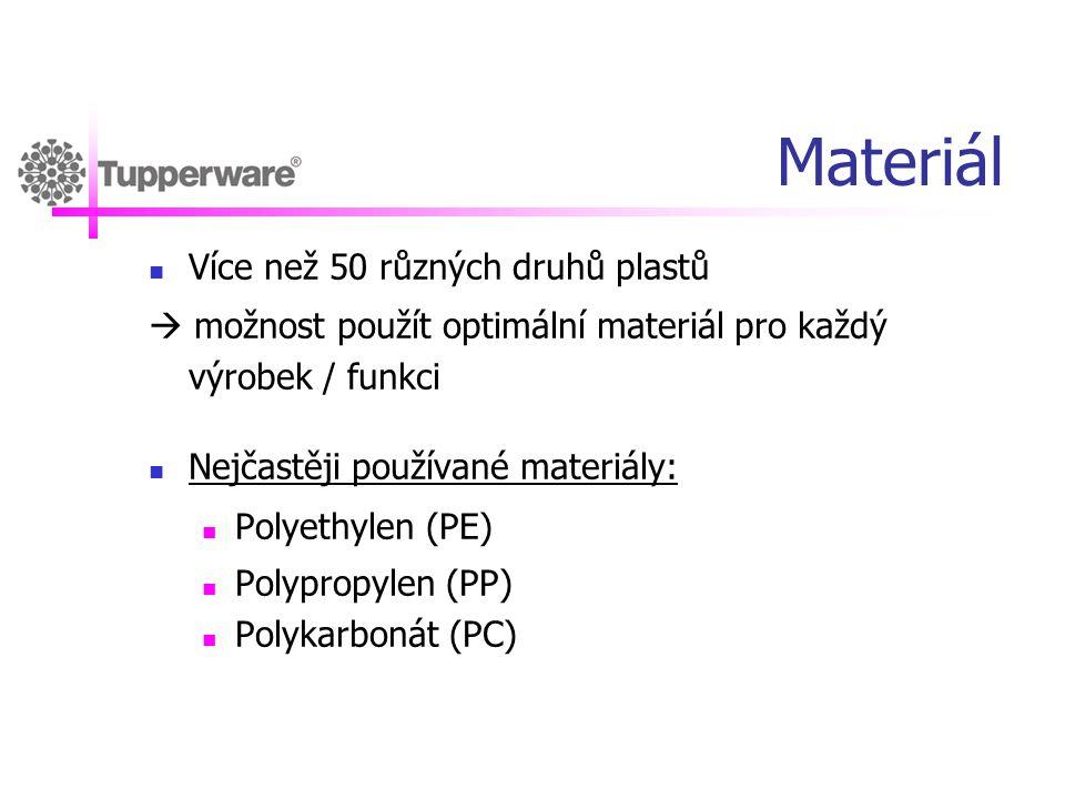 Materiál Více než 50 různých druhů plastů