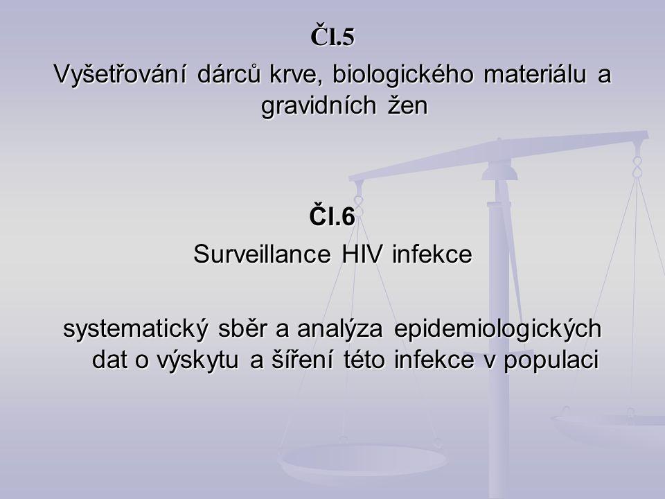 Vyšetřování dárců krve, biologického materiálu a gravidních žen Čl.6