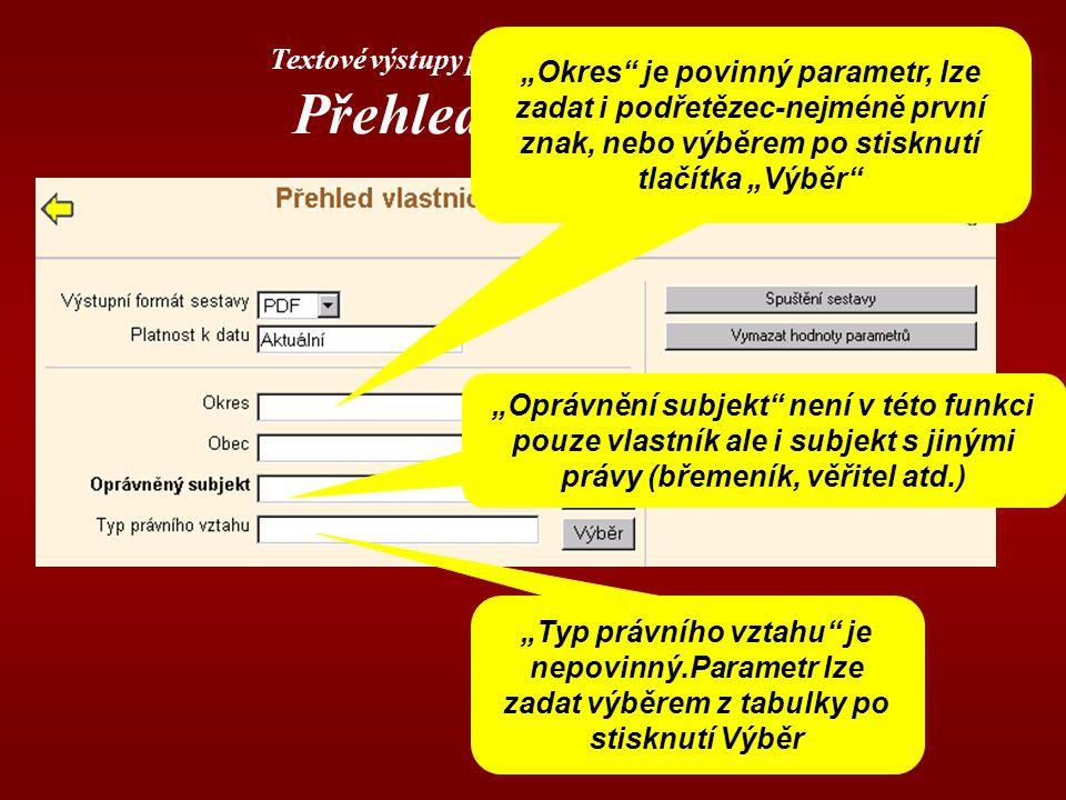 Textové výstupy poskytované aplikací DP