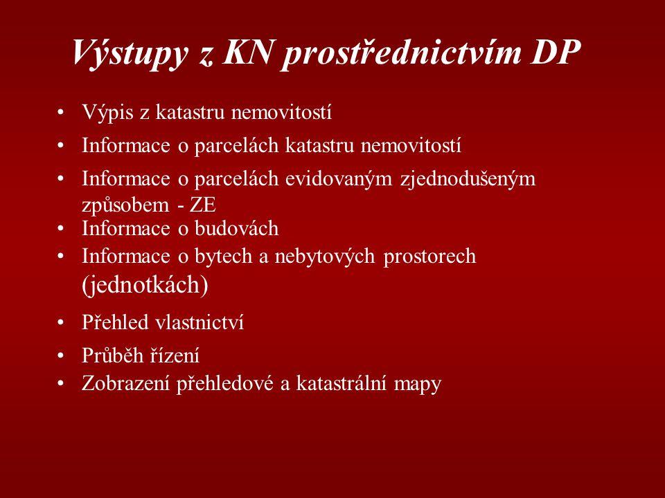 Výstupy z KN prostřednictvím DP