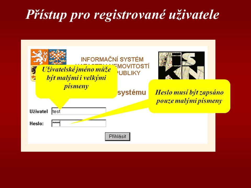 Přístup pro registrované uživatele